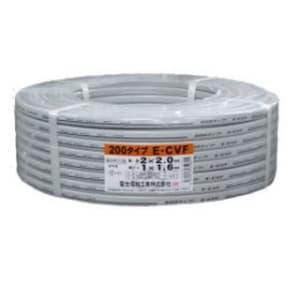 富士電線 600V架橋ポリエチレン絶縁ビニルシースケーブル平形 200タイプ 2C×2.0mm+アース1.6mm 100m巻 ECVF2.0×2+1.6×100m