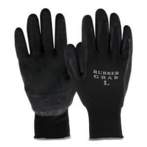 勝星産業 ラバーグラブ 背ヌキ加工 薄手タイプ 5双組 サイズ:L 黒 #670L