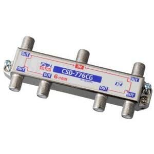 サン電子 【在庫限り】らくらくコネクタ付属6分配器 全端子電流通過型 10〜2610MHz 屋内用 CSD-776CG-L