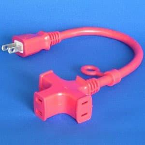 正和電工 トライアングルマルチタップ延長コード 3個口 0.3m 赤 VCTM-03RE