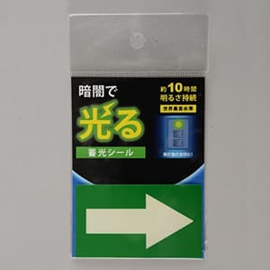 花岡 蓄光シール 《矢印》 標示タイプ α-FLASH採用 70×40mm AF2006