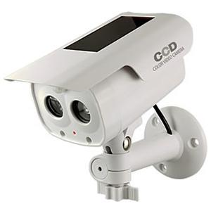 オンスクエア 防犯ダミーカメラ ソーラー充電式 軒下防滴仕様 LEDライト・赤色LED×各1灯 人感・明暗センサー搭載 OS-173F