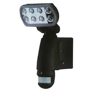 マザーツール 【生産完了品】SDカードレコーダー搭載センサーライトカメラ AC100V 1W高輝度LED×8基 防滴タイプ 1/4インチカラーCMOS SDカード8GB付 MT-SL01-B