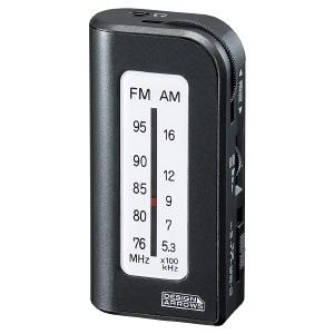 ヤザワ AM・FMコンパクトハンディラジオ デジタル方式 モノラルイヤホン付 ブラック RD23BK