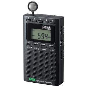 ヤザワ 【生産完了品】AM・FMハンディラジオ デジタル方式 巻取式モノラルイヤホン付 ブラック RD24BK