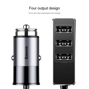 電材堂 カーチャージャー USB4ポート 出力最大5.5A ダークグレー DCCTON-0G