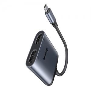電材堂 HDMI変換ハブアダプター 《Enjoyシリーズ》 Type-C用 HDMI×2+PD グレー DCAHUB-I0G