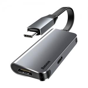 電材堂 HDMI変換ハブアダプター リトルボックス Type-C用 HDMI+Type-C PD ダークグレー DCAHUB-E0G