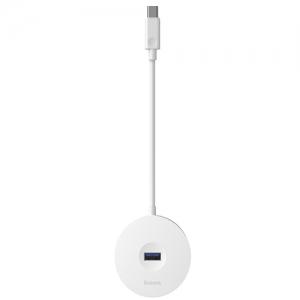 電材堂 USBハブアダプター ラウンドボックス形 USB 3.0用 USB3.0×1+USB2.0×3 長さ25cm ホワイト DCAHUB-G02
