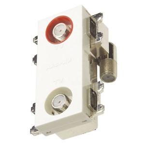 マスプロ 直列ユニット 電源挿入型2分配型テレビ端子 IN・OUT端子可動型 壁面埋込・シールド型 3224MHz対応 2DWKTD-B